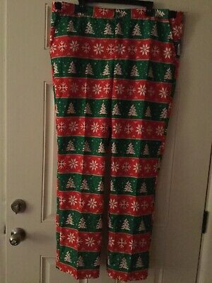 Suitmeister Christmas Holiday Pants Printed Suit Pants Ugly Sweater Sz 2XL