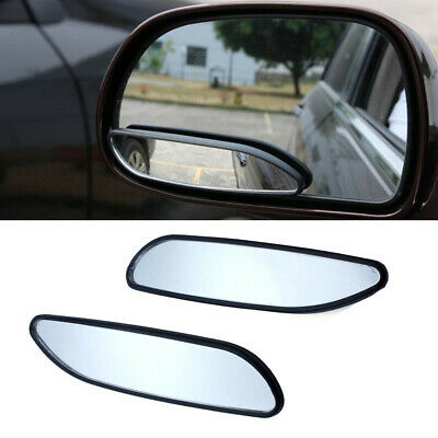 2x Round Rectangular Swivel Stick-On Auto Wide Angle Side Blind Spot Side Mirror