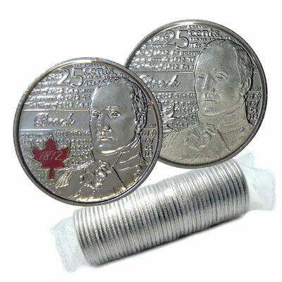 2012 Canadian 25-Cent Heroes of 1812: Sir Isaac Brock Quarter Original Coin Roll