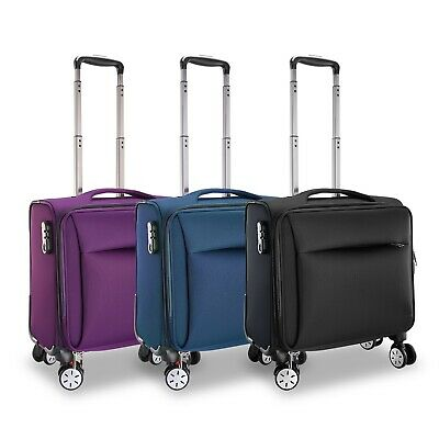 """16"""" Spinner Softside Carry-On Luggage Travel Suitcase w/360°Rotatable Wheels US"""