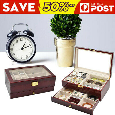 15 Wooden Jewelry Watch Box Double Layer Glasses Storage Display Slot Case Gift