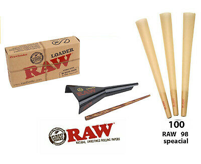 RAW Classic 98 special Size Cones  ( 100 count )+ Raw  Cone Loader
