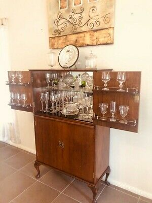 Antique Drinks Cabinet - glasswear not included except in the the doors