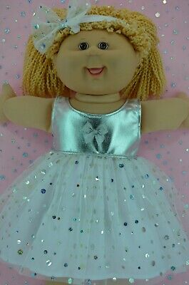 "Play n Wear Dolls Clothes For 16"" Cabbage Patch SILVER SEQUIN DRESS~HEADBAND"