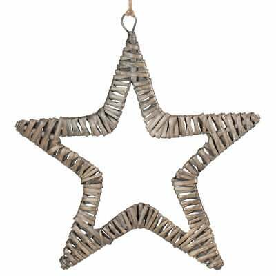 Antique Wash Flat Star Wall Hanging Wicker Christmas Decoration