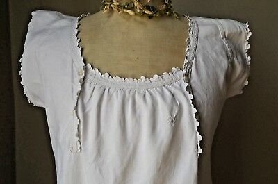 Antique French pure linen hand made embroidered shift night dress RJ monogram