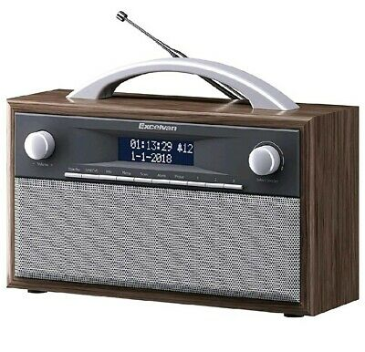 Excelvan Portable Wooden Retro DAB Digital Radio With FM & Stereo Speaker System