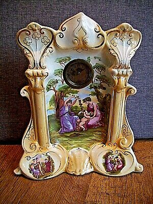 Antique Victorian Ornate Porcelain Cased Swiss Mantel Clock with Painted Scene