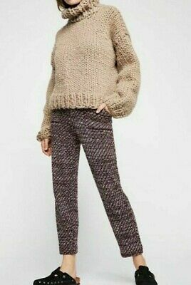 Free People Cozy Knit Trousers Deep Red Combo Pants Sz Small /$148 NWT OB902419