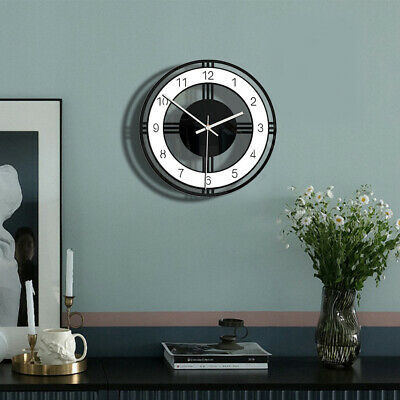 Ln_ Black Home Dial Digital Mute Art Acrylic Large Round Face Wall Clock Decor