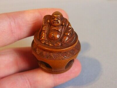19th century antique boxwood netsuke Hotei Meiji period