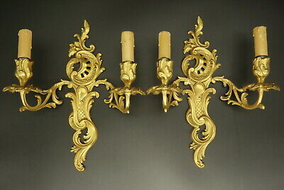 Pair Of Sconces Stamped, Rococo Style, Era 19Th - Bronze - French Antique
