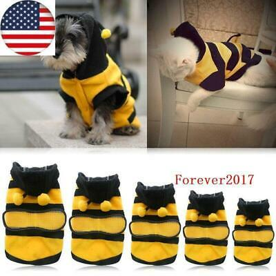 Pet Dog Cat Puppy Warm Hoodie Coat Clothes Cute Bee Costume Apparel Outfit US SH