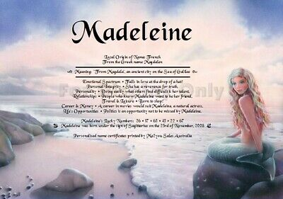 Mermaid background First Name Meaning or Name Verse - Girl Personalised Gift