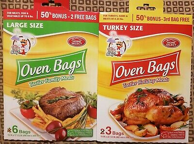 9 Oven Roasting Bags - Home Select - 3 Turkey Size & 6 Large Size NO CLEAN-UPS!