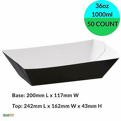 Black Paper Food Trays Large (1000ml / 36oz , 50-500 Pack) Disposable Paper Tray