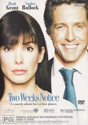 Two Weeks Notice DVD BEST COMEDY ROMANCE Sandra Bullock Hugh Grant BRAND NEW R4