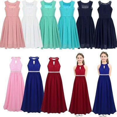 Girls Flower Chiffon Dress Princess Formal Party Wedding Bridesmaid Gown Dresses