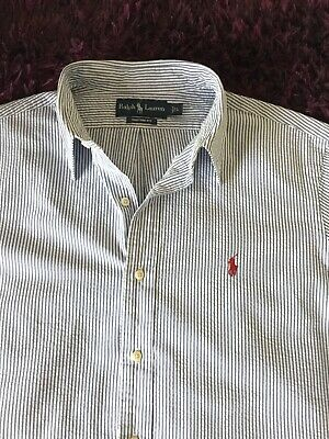 Super Cool 100% Genuine Mens Ralph Lauren Custom Fit S/S Stripe Shirt In Large