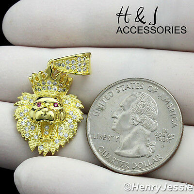 925 Sterling Silver Icy Diamond Small Lion King Head Crown Gold Pendant*Gp122