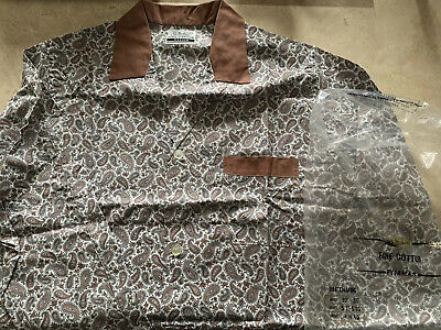 Vintage 60s 70's St Michael Brown & White Paisley Men's Pyjama Top Medium M Mod