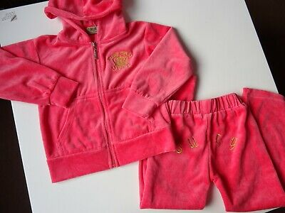 Juicy Couture Girls Pink Velour size M embroidered Tracksuit joggers bundle