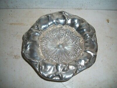 Antique Mauser Mfg Co Sterling Silver Dish Bowl Bumble Bee Flower Pedal Repousse
