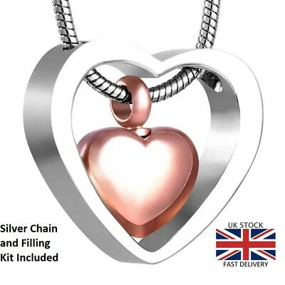 Rose Gold Heart Cremation Urn Pendant Ashes Necklace Funeral Memorial Jewellery
