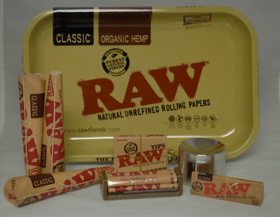 11x7 RAW Rolling Tray Bundle RAW 3 PK 1.25 Cones Roller 1.25 Papers Tips Grinder