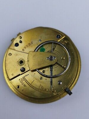 English Fusee Pocket Watch Movement with Chain For Repair Project (P3)