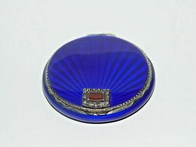 Stunning Antique Art Deco Blue Guilloche Sterling Silver Compact Agate Mount