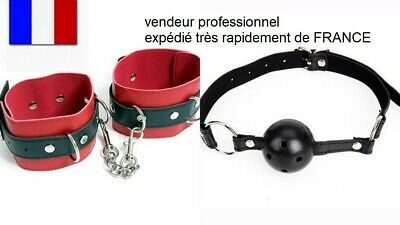 gag ball baillon + menottes de bondage LOT DE 2  expédié de FRANCE BDSM