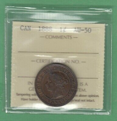 1888 Canadian Large One Cent Coin - ICCS Graded AU-50