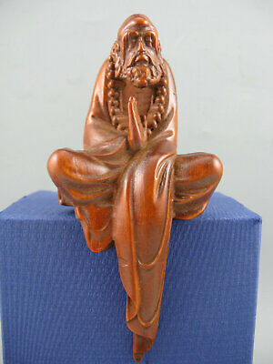 Antique Old Boxwood Hand Carved Bodhidharma Amulet Netsuke Statue