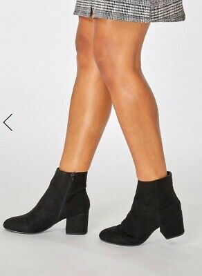 BN DOROTHY PERKINS , BLACK Black Wide- Fit Block-Heeled Ankle Boots 8 41 €44.00