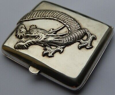 Fine Antique Chinese Export Solid Silver Cigarette Case Cumshing Cum Shing c1890
