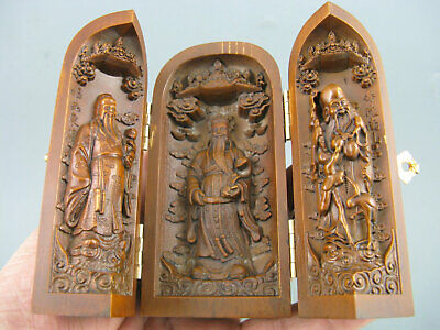 Antique Old Chinese Boxwood Hand Carved God wealth Life star 福禄寿 Statues Box