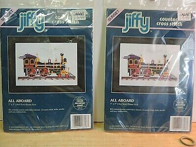 """Pair Of Dimensions/Jiffy Counted Cross Kits # 16608 """" All Aboard"""""""