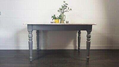 Painted English Farm House Dining Table - Grey - Country Vintage Style