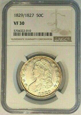 1829/1827 Capped Bust Half Dollar NGC VF30 : Toned Rims, Retained Core Luster