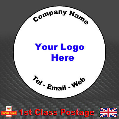 100 Round Personalised Business Stickers - Printed Logo, Email, Address Labels