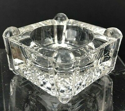 VTG Antique Open Salt Cellar Dip Dish Square Four Footed Pillar Clear Glass