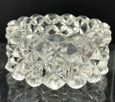 VTG Antique EAPG Open Salt Cellar Dip Open Dish Diamond Point Clear GLASS Pretty