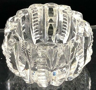 Salt Cellar VTG Antique Open Dip Open Dish Cut Crystal Glass Zipper Clear PRETTY