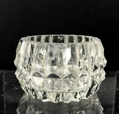 VTG Antique Open Salt Cellar Dip Dish Round Geometric Diamond Clear Glass Star