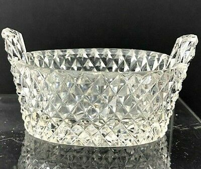 Salt Cellar Dip VTG Antique Open Dish Diamond Point Cut Tub Crystal Glass