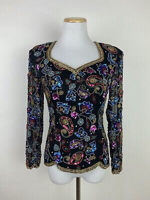 *FLAWS* VTG 90s NITE LINE Heavily Sequined Beaded Blouse S Paisley New Years Eve