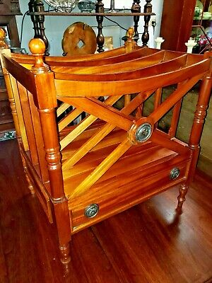 Antique Mahogany Canterbury Magazine Rack