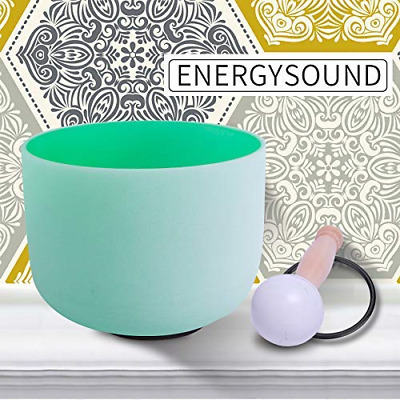ENERGYSOUND Green Color Frosted F Heart Chakra Quartz Crystal Singing Bowl 10 &