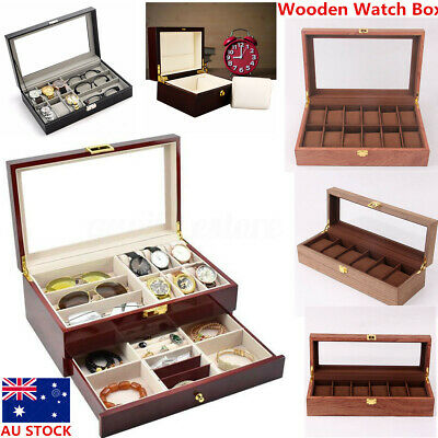 15 Double Layer Wooden Jewelry Watch Box Case Glasses Storage Display Slot  ~